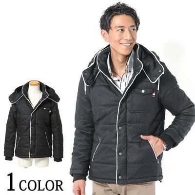 メンズ アウター ジャケット 中綿 コート ウールタッチパイピングデザイン中綿ジャケット