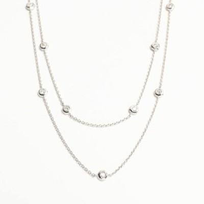 【中古】A品 ダイヤ ネックレス K18WG K18ホワイトゴールド ダイヤ0.850ct 7.3g レディース