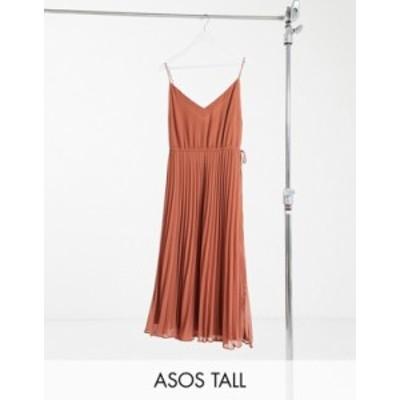 エイソス レディース ワンピース トップス ASOS DESIGN Tall pleated cami midi dress with drawstring waist in mocha Brown