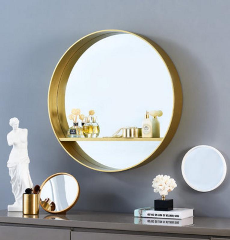 鏡子 浴室鏡 裝飾鏡 化妝鏡 60cm 北歐衛生間鏡子 帶置物架 洗手間梳妝化妝鏡實木邊框圓鏡浴室鏡