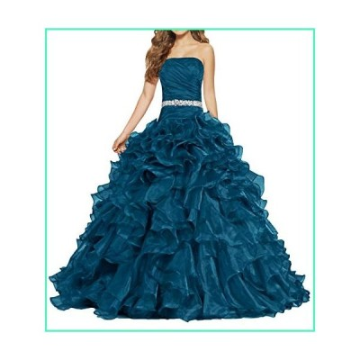 ANTS Women's Pretty Ball Gown Quinceanera Dress Ruffle Prom Dresses Size 16 US Teal Blue並行輸入品