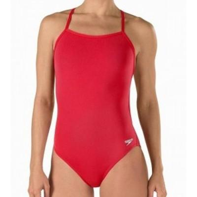 speedo スピード スポーツ用品 スイミング Speedo Womens Swimwear Flame Red Size 12 Logo Open Back One-Piece