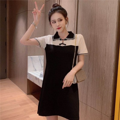 【大きいサイズL-4XL】【春夏新作】ファッション 人に初恋の気持ちを与える 甘いかわいい レトロ  大きいサイズドレス シャツ ワンビース