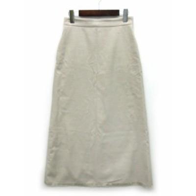 【中古】ミラオーウェン Mila Owen ロング フレア スカート 裾カットオフ ベージュ 1 09WF0172019 レディース