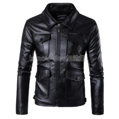 レザージャケット 襟付けライダースジャケット メンズ 革ジャン PUジャケット 大きいサイズ 5XL ロック系 新作 ポケット多い