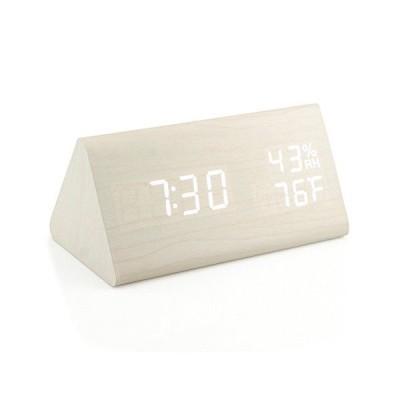 Oct17 木製目覚まし時計 木製LEDデジタル卓上時計 2018年バージョン 時間温度調節 明るさ調節可能 アラー