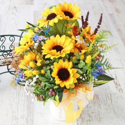造花 ひまわりと小花のレース柄の花器アレンジ 造花 シルクフラワー ヒマワリ 向日葵 フェイク CT触媒 父の日
