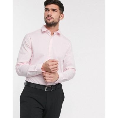 エイソス メンズ シャツ トップス ASOS DESIGN stretch slim formal work shirt in pink Pink