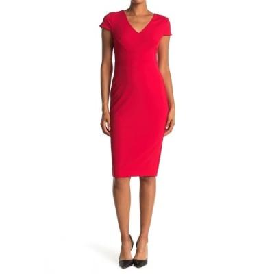 ドナモーガン レディース ワンピース トップス Cap Sleeve Fitted Crepe Dress REDRED