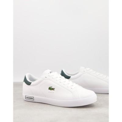 ラコステ Lacoste メンズ スニーカー シューズ・靴 Power Court Trainers In White Green ホワイト