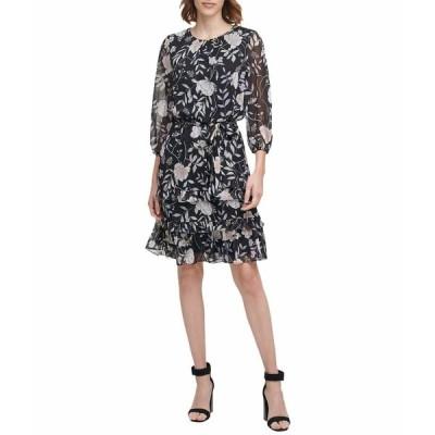カルバンクライン ワンピース トップス レディース Printed Long Sleeve Tiered Dress with Belt Black Multi