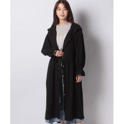 【アクシーズファム】 フード付ロングコート レディース ブラック M axes femme