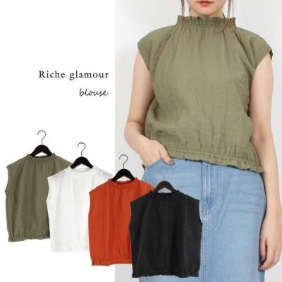 トップス シャツ ブラウス レディース ファッション 春夏SALE リップルポプリンシャー リングネック ブラウス 定番アイテム 人気