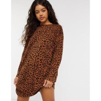 エイソス レディース ワンピース トップス ASOS DESIGN oversized long sleeve t-shirt dress in leopard print Leopard print