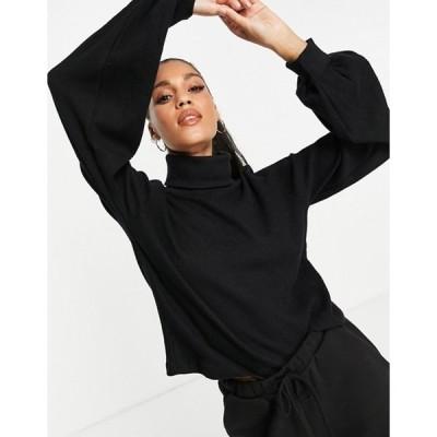 スリードベア レディース シャツ トップス Threadbare harper waffle sweater in black