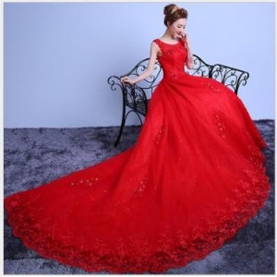優雅 上品 トレーン 袖あり お呼ばれドレス ウェディングドレス Seet style フェミニン パーティドレス 挙式 ピアノ 結婚式 編み上げ