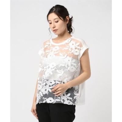 tシャツ Tシャツ チュールレース&ライトコットンジャージー Tシャツ