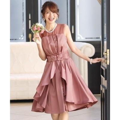 ドレス 2WAYフリルレースドレス/結婚式ワンピース お呼ばれ・二次会・セレモニー大きいサイズ対応フォーマルパーティードレス