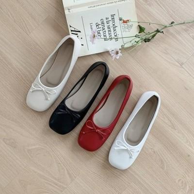パンプス バレエシューズ りぼん リボン スクエアトゥ フラット レディース ぺたんこ ペタンコ 黒 赤 白 ブラック レッド ベージュ ホワイト 靴 婦人靴 韓国