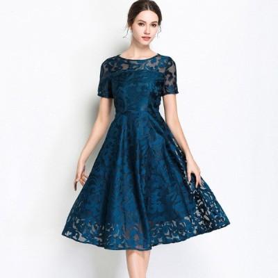 袖あり ドレス パーティードレス ミディアムドレス 袖付き 花刺繍 レース 半袖 ミディアム丈 Aライン 大きいサイズ レトロ オードリー