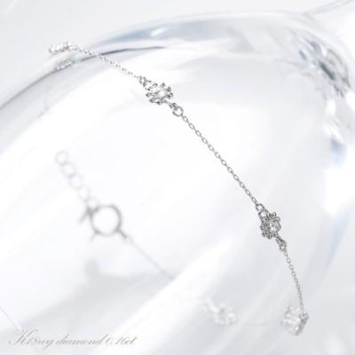 K18WG ローズカット ダイヤモンド ブレスレット