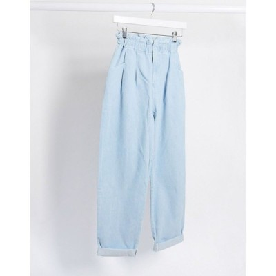 エイソス ASOS DESIGN レディース ジーンズ・デニム ボトムス・パンツ Lightweight paperbag waist jeans in lightwash ライトブルー