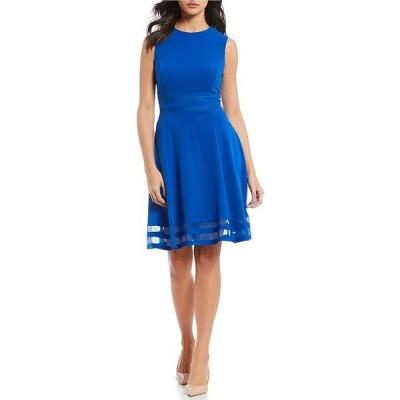 カルバンクライン レディース ワンピース トップス Round Neck Sleeveless Illusion Hem Crepe A-Line Dress Capri