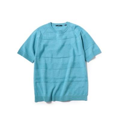 【シップス】 SC: ランダム ボーダー ニット Tシャツ メンズ ブルー SMALL SHIPS