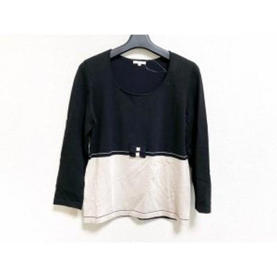 トゥービーシック TO BE CHIC 長袖セーター サイズ3 L レディース 美品 黒×ベージュ リボン【中古】20200511