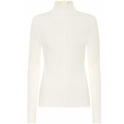 ボッテガ ヴェネタ Bottega Veneta レディース ニット・セーター トップス Crepe-jersey turtleneck sweater Optical White