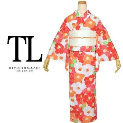 浴衣 レディース 単品 TL 「赤×オレンジ 椿」花火大会 夏祭りに トールサイズ浴衣ss2012ykl50