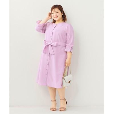 大きいサイズ  7分袖脇プリーツワンピース ,スマイルランド, ワンピース, plus size dress