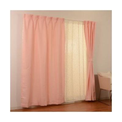 ユニベール 4マイクミカーテン 4Pカンポ PI/100x178cm 4枚組 ピンク/幅100*高178cm