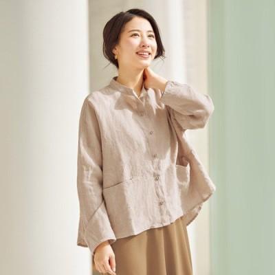 麻100%ゆったりシャツジャケット / 40代 50代 60代 70代 ファッション シニア ミセス レディース 婦人服