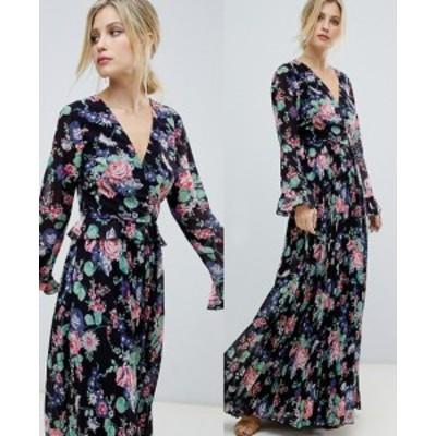 エイソス ASOS プリーツスカート ラップマキシワンピース 送料無料 レディース ファッション
