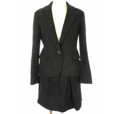 【中古】ナチュラルビューティーベーシック セットアップ ウール混 S ブラック ジャケット 長袖 スカート 膝丈 スーツ