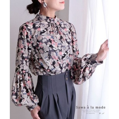 【サワアラモード】 花柄プリントのぽわん袖ブラウス レディース ブラック F Sawa a la mode
