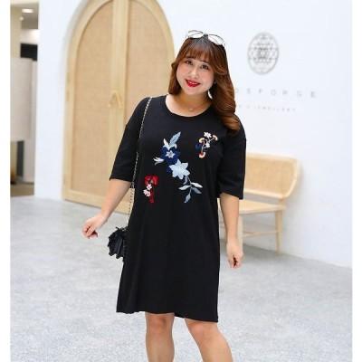 ぽっちゃりさん 出かけ パーティー 可愛い花柄刺繍ドレス ワンピース