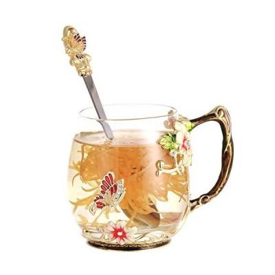 Glass Flower Tea Cups Enamel Coffee Mug with Spoon,Enamel Tea Mug for Women