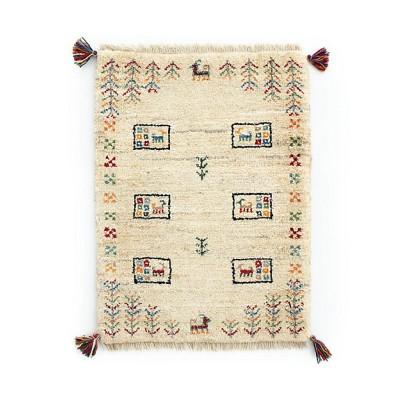 ペルシャ絨毯 手織りギャッベ 玄関マットSサイズ 5(4)mm1259:57×77cm、厚み1.9cm【三越伊勢丹/公式】