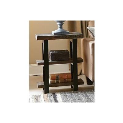 こだわり インテリア インポート アンティーク テーブル Rustic Farm 3-Tier Reclaimed Wood Metal Side End Accent Table, 2 Lower Shelves