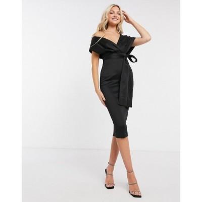 エイソス ASOS DESIGN レディース ワンピース ミドル丈 ワンピース・ドレス bardot fallen shoulder midi dress with self tie belt in black ブラック