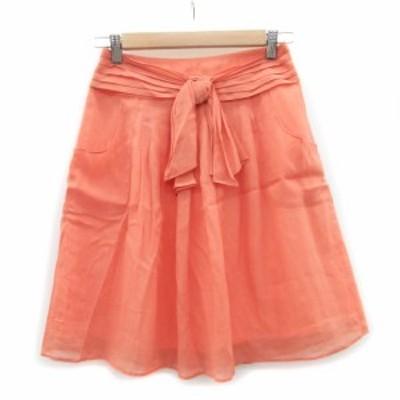 【中古】ジャスグリッティー JUSGLITTY スカート プリーツ ひざ丈 リボン 1 ピンク /MS22 レディース