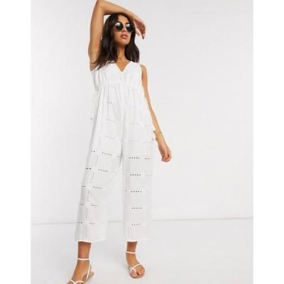 エイソス レディース ワンピース トップス ASOS DESIGN rope drawstring waist detail jumpsuit in daisy broderie White
