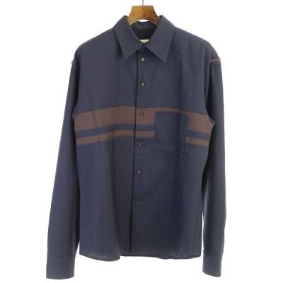 MARNI マルニ 18AW ウールトロピカルバイカラーシャツ ネイビー 48 メンズ