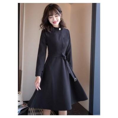 ワンピース/ドレス/S~XL/単色/スタンディングカラー/ウエストベルト/