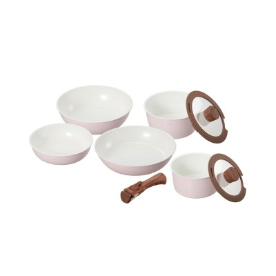 セラティ セラミック ワンハンドル IH 8点セット グリル調理器具・フライパン・鍋(ニッセン、nissen)