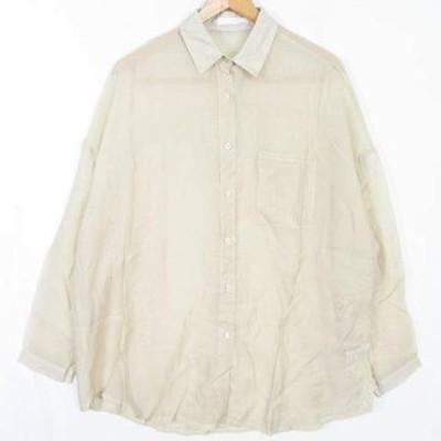 【中古】アントマリーズ Aunt Marie's シャツ ブラウス 長袖 テンセル ベージュ so0048 レディース