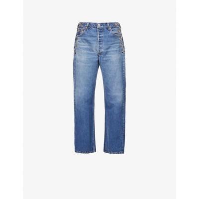EBデニム EB DENIM レディース ジーンズ・デニム ボトムス・パンツ Upcycled Vintage Chain straight-leg high-rise jeans BLUE