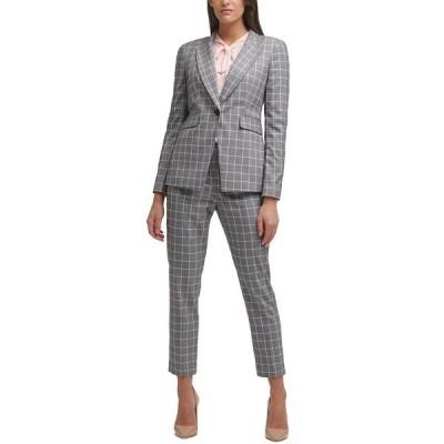 トミー ヒルフィガー ジャケット&ブルゾン アウター レディース One-Button Windowpane Blazer Grey/ballerina Pink Multi